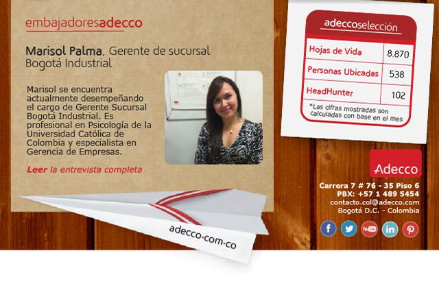 Marisol Palma, Gerente de sucursal Bogotá Industrial