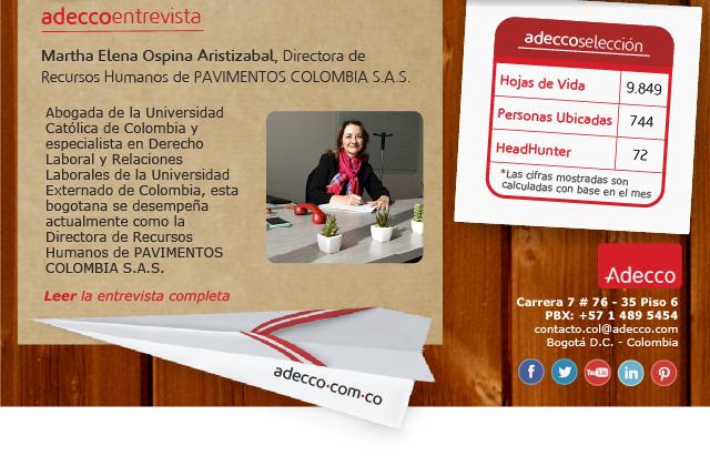 Martha Elena Ospina Aristizabal, Directora de Recursos Humanos de PAVIMENTOS COLOMBIA S.A.S.