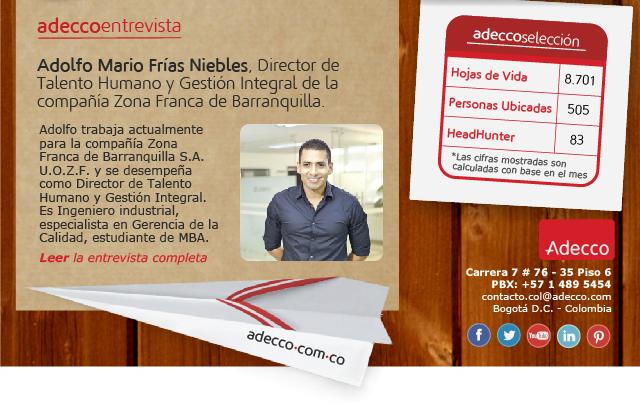 Adolfo Mario Frías Niebles, Director de Talento Humano y Gestión Integral de la compañía Zona Franca de Barranquilla