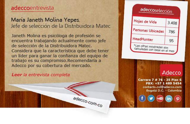 María Janeth Molina Yepes, Jefe de selección de la Distribuidora Matec